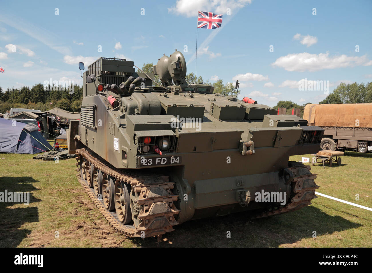A 1970's British Army Combat Engineer Tractor (CET) on display at the 2011 War & Peace Show at Hop Farm, - Stock Image