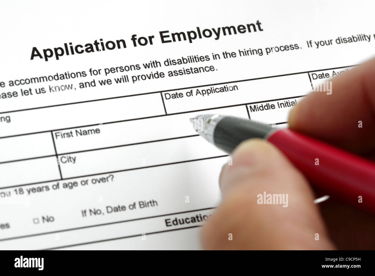 Application for employment - Stock Image