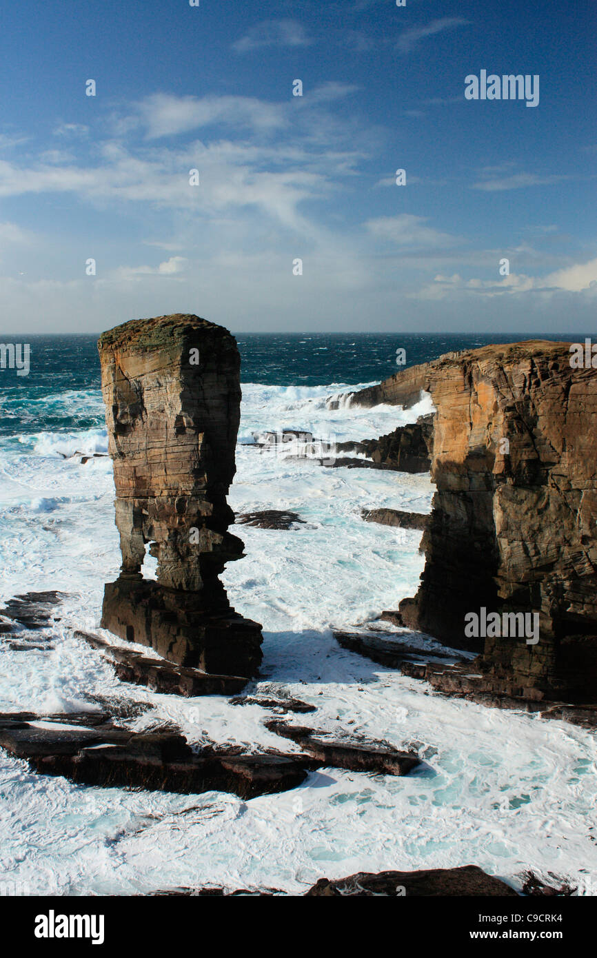 Yesnaby sea stack situated in the Orkney Islands - Stock Image