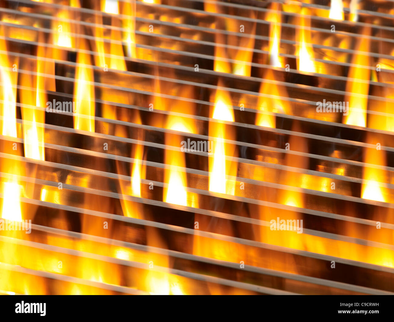 Grill with flame - Stock Image