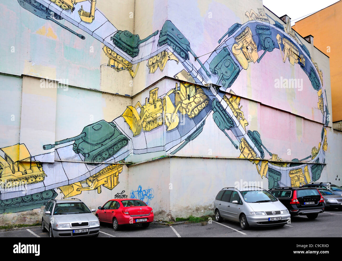 Prague, Czech Republic. Car park on Narodni (street) with mural of tanks and bulldozers. ('Gaza Strip'  - Stock Image