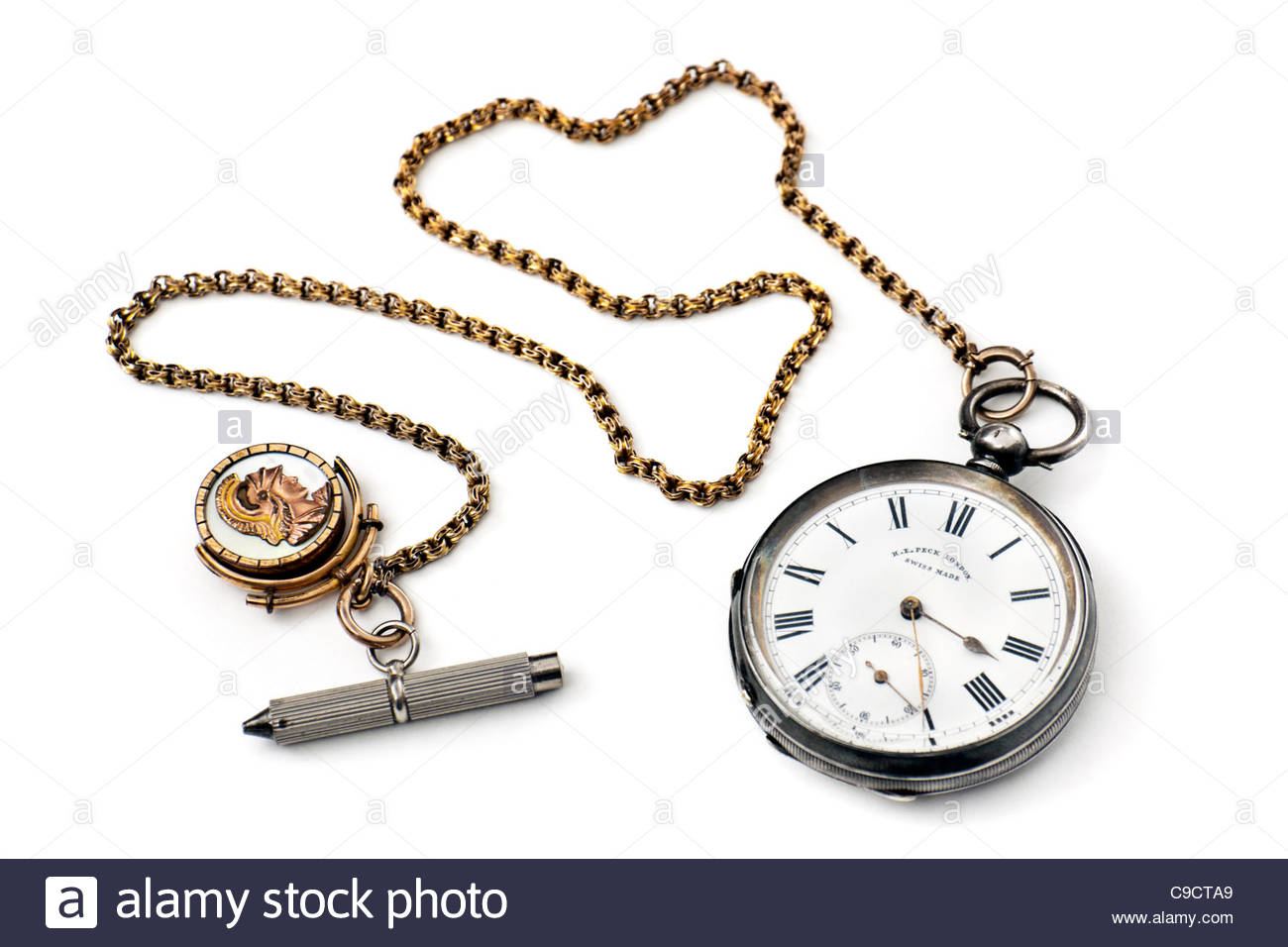 Antique Silver pocket watch by Henry Edward Peck (H.E. Peck) of London. - Stock Image