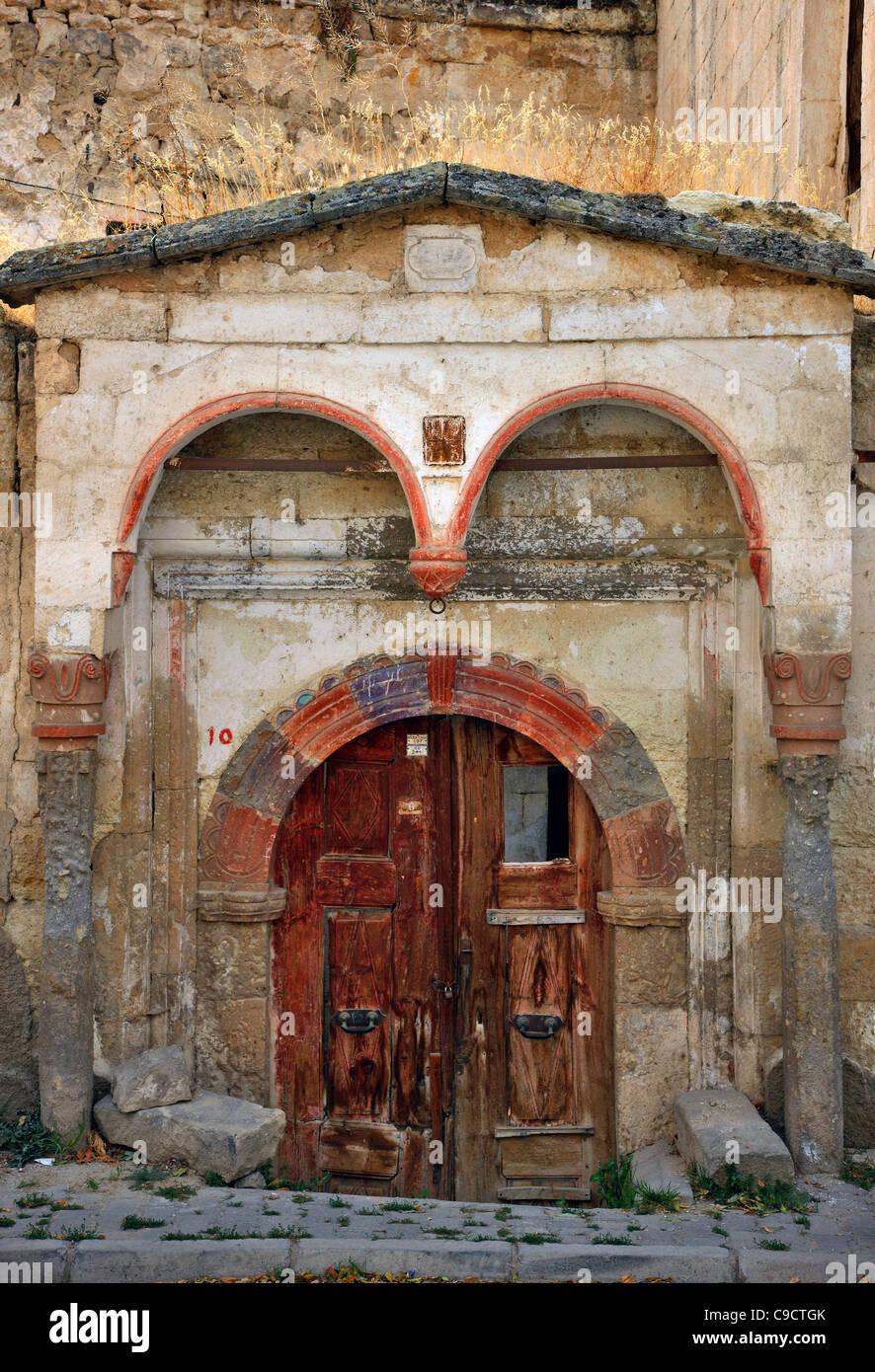 A beautiful traditional old door in Sinasos village (nowadays called 'Mustafapasa'), Nevsehir, Cappadocia, - Stock Image