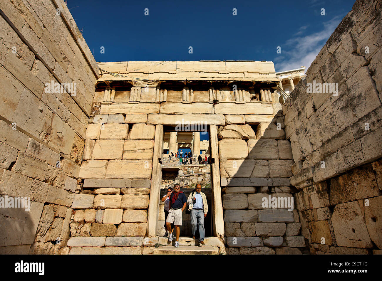 "Partial view of the Propylaea (or ""Propylea"")  of the Acropolis of Athens Stock Photo"