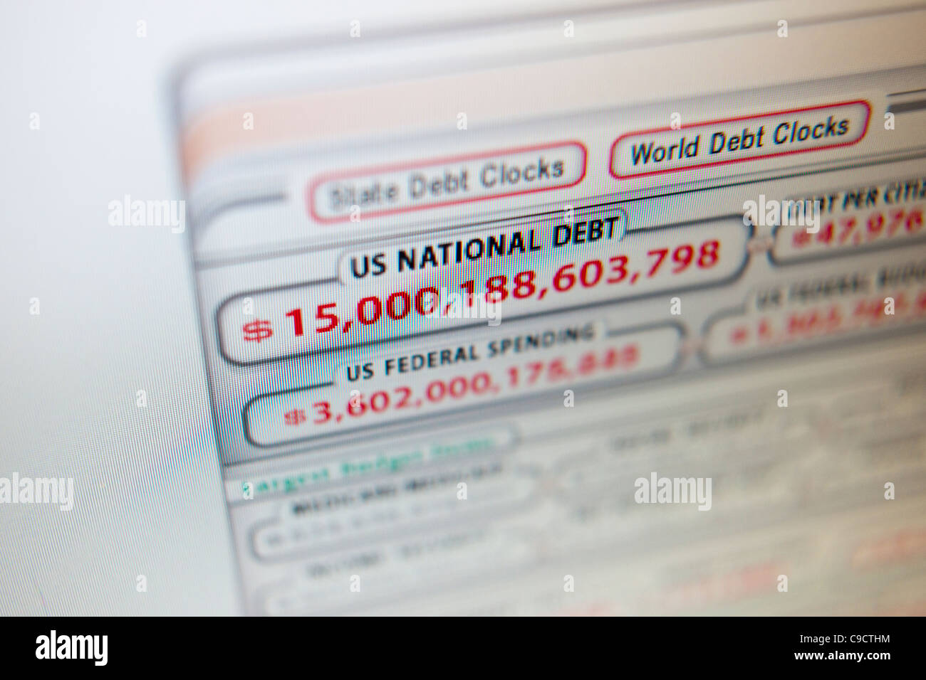 The US national debt of over $15 trillion is shown on a clock on a website - Stock Image