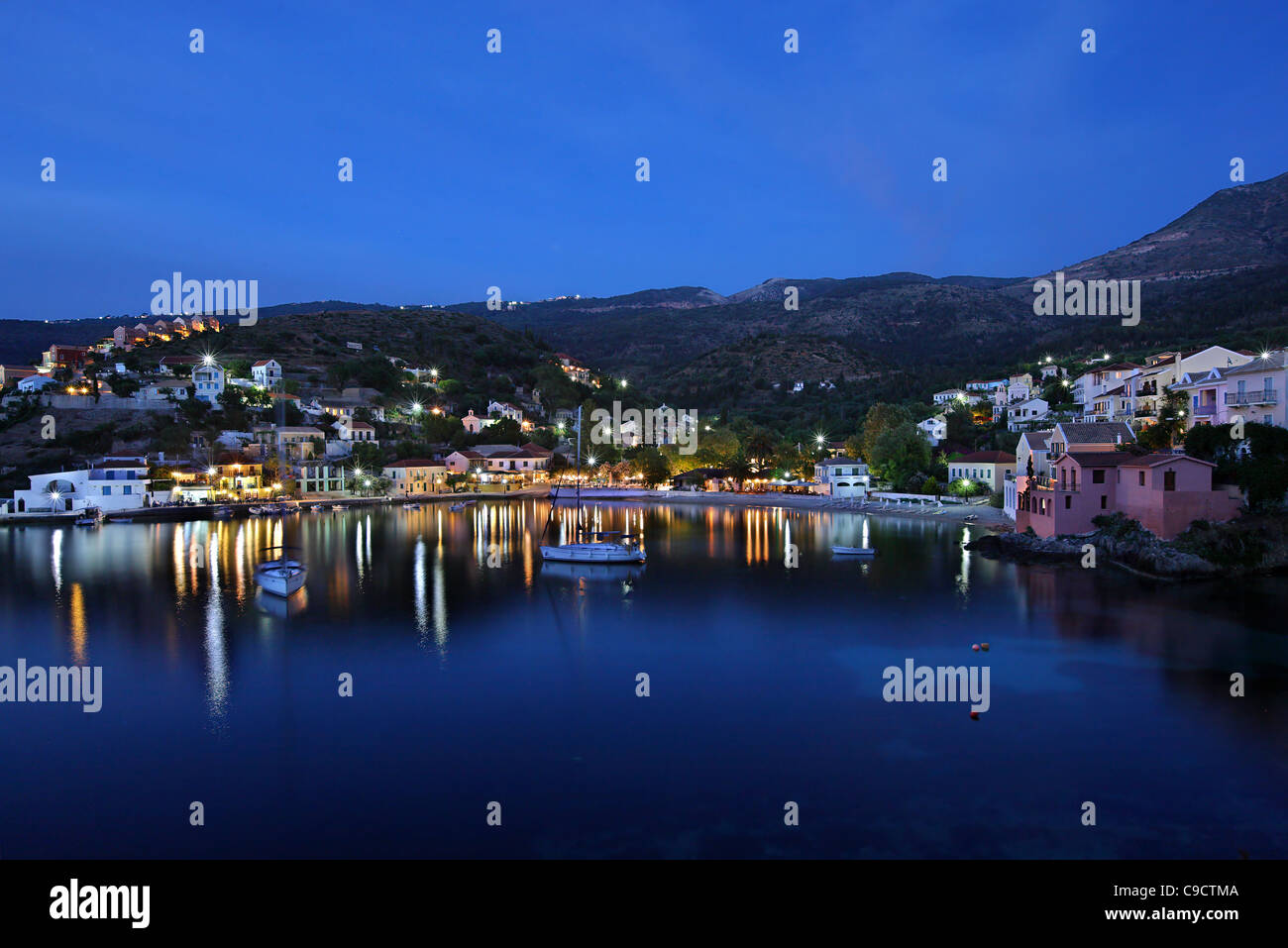 Assos (or 'Asos') one of the most beautiful villages of Kefalonia, on the north part of the island, at night. - Stock Image