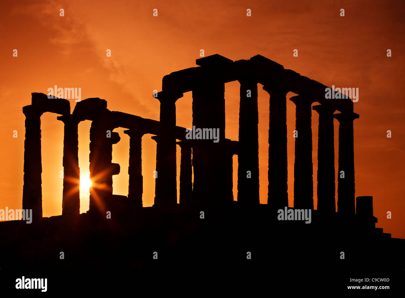 The Temple of Poseidon (ancient God of the sea, according to classical Greek Mythology) at Cape Sounion, around - Stock Image