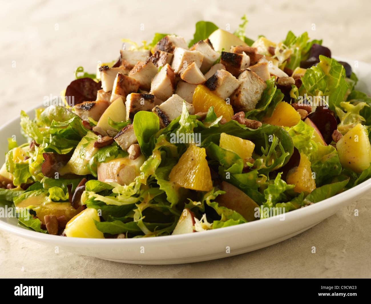 Grilled chicken, potato and orange salad - Stock Image