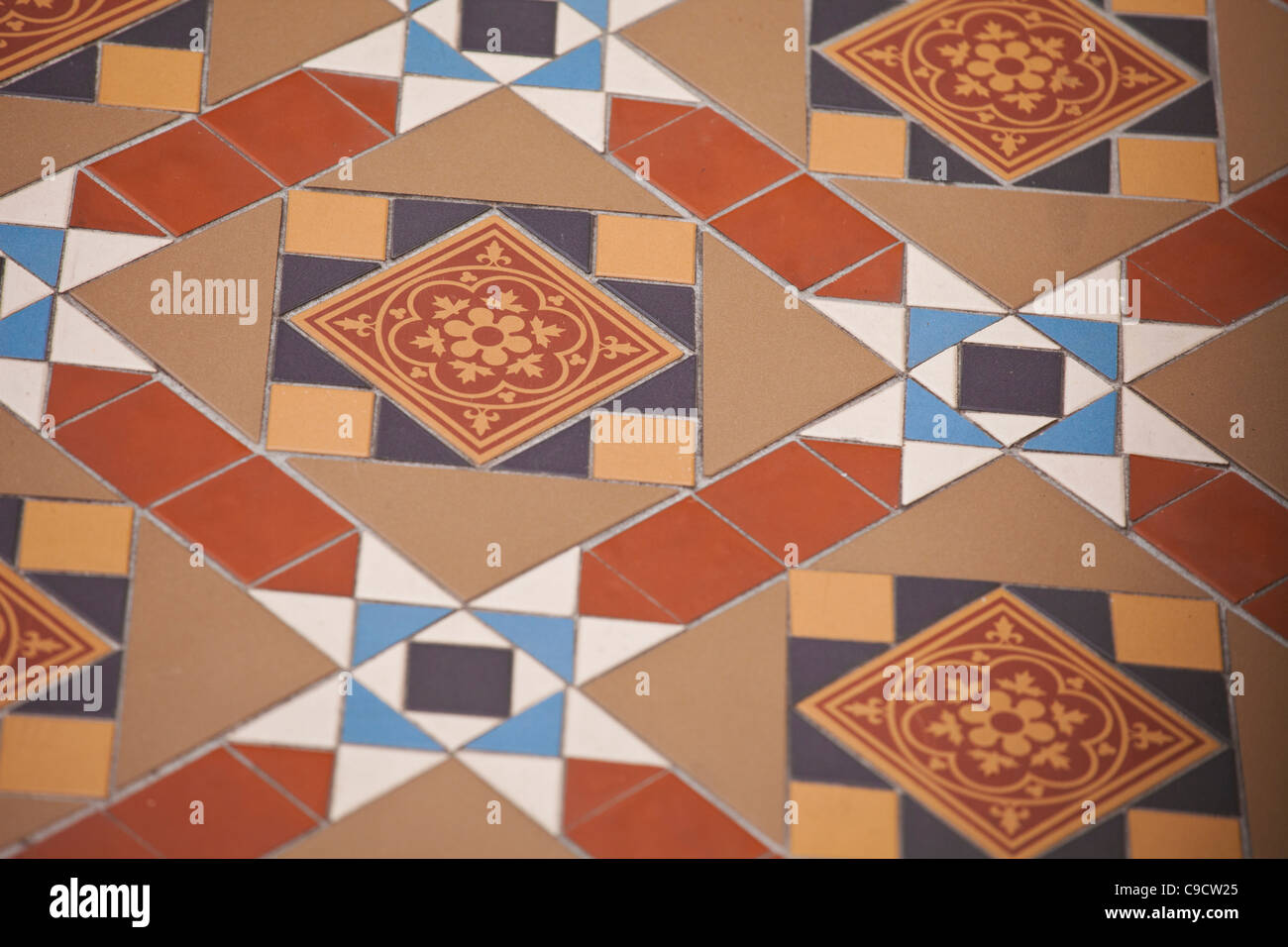 Melbourne historical patterned clay path floor tiles seen in both private and public houses thought the city. - Stock Image