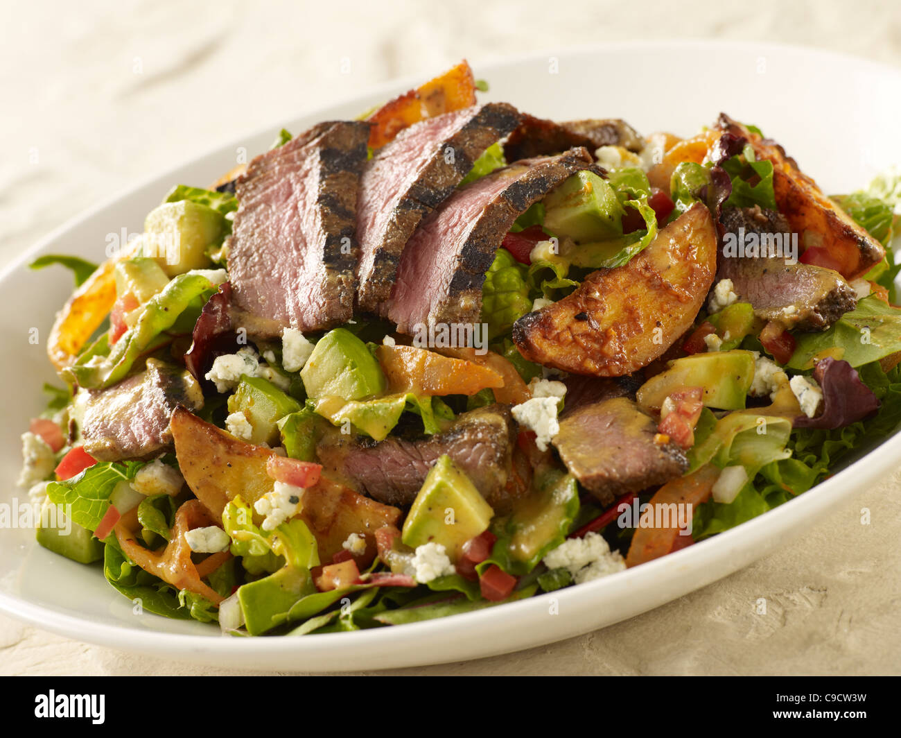 Grilled steak and potato salad Stock Photo