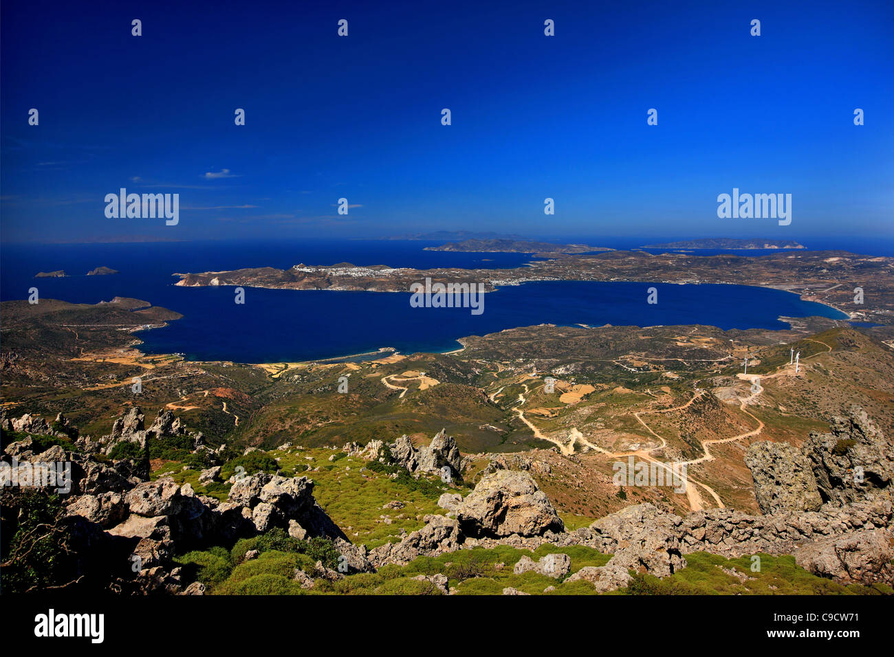 Panoramic view of the Gulf of Milos, one of the largest natural harbors in the Mediterranean. Cyclades, Greece - Stock Image