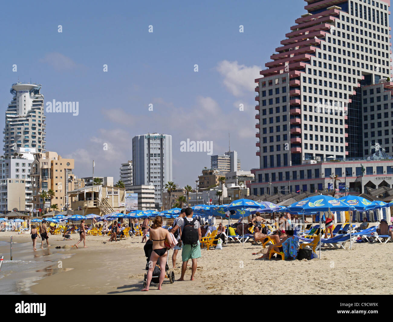 Tel Aviv Beach and Waterfront Hotels - Stock Image