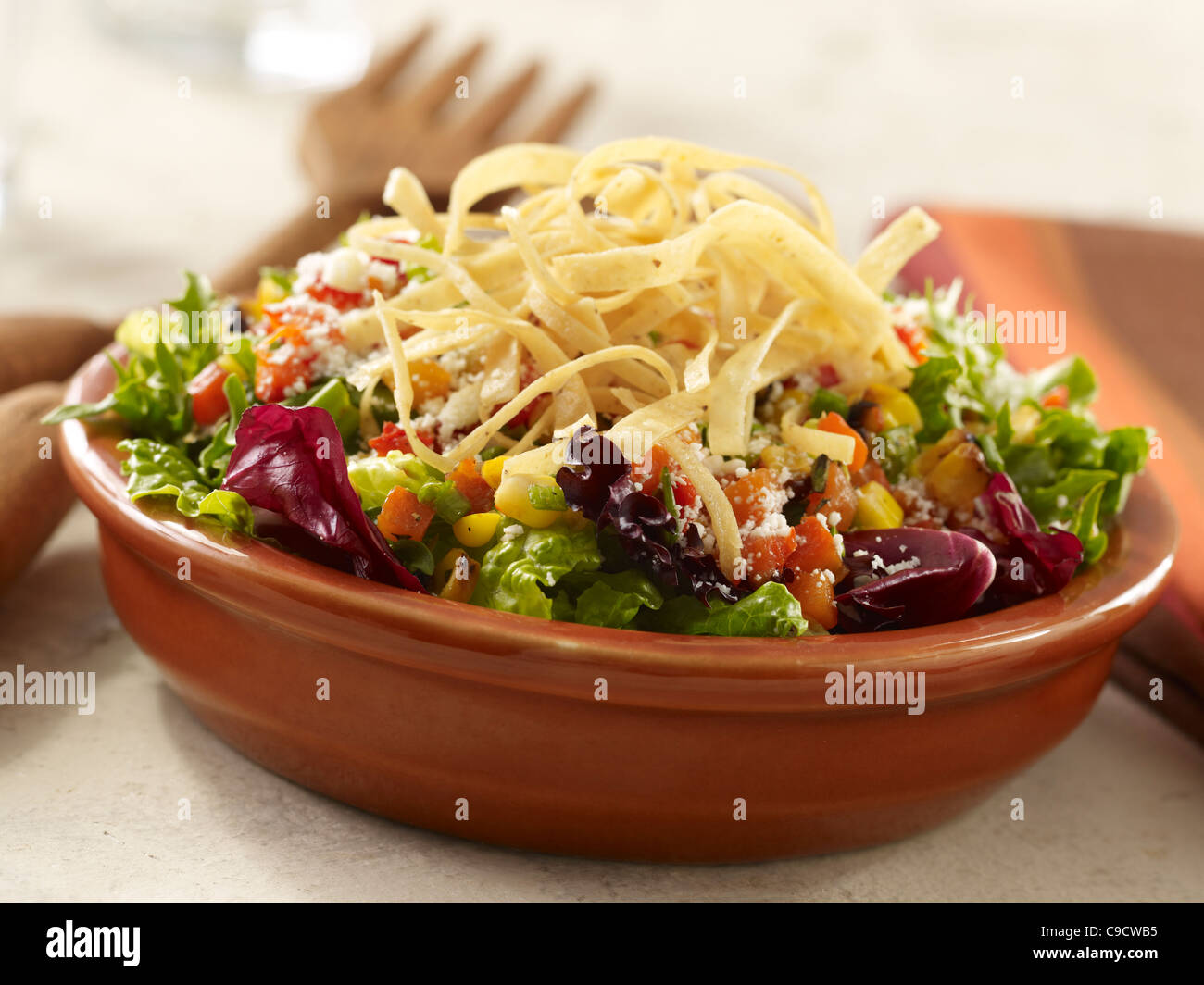 Mixed green salad topped with tortilla strips - Stock Image