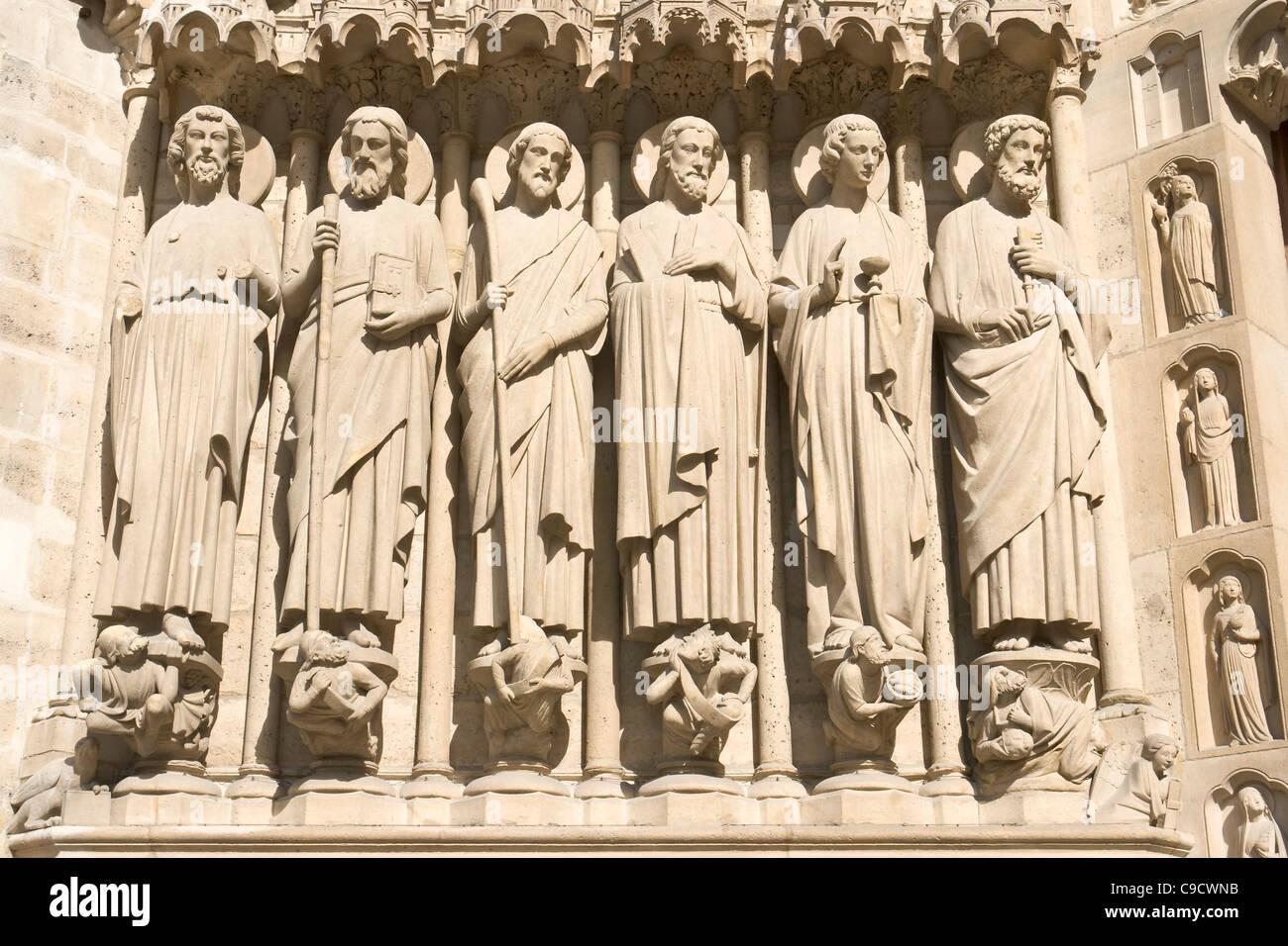 Apostles, Last Judgement portal, Notre-Dame, Paris [...] Stock Photo
