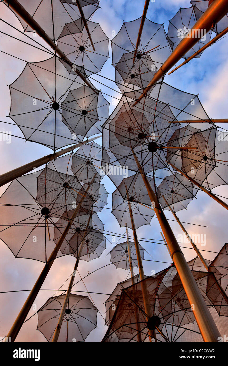 Greece, Thessaloniki.'The Umbrellas' , an artistic installation, by George Zoggolopoulos. - Stock Image