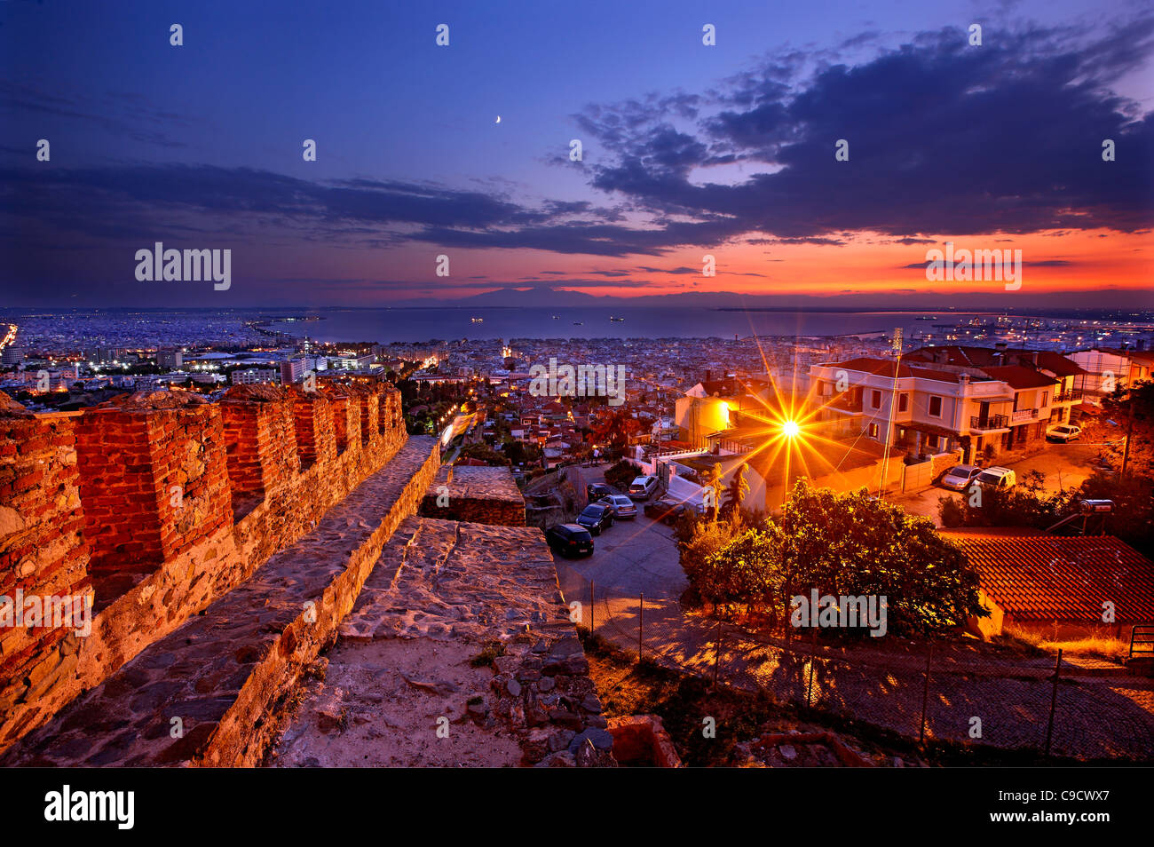 Panoramic view of Thessaloniki from the walls ('Trigoniou Tower') of Ano Poli (means 'upper city'). - Stock Image