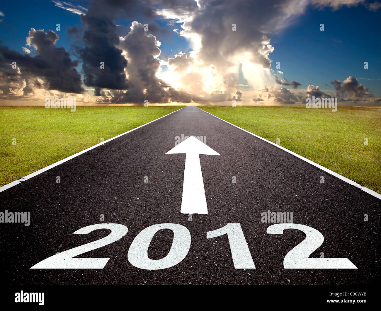road to the new year 2012 and sunrise - Stock Image