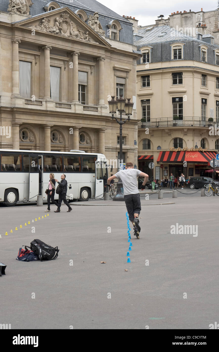 Skater in front of the Palais-Royal, Paris, France. - Stock Image