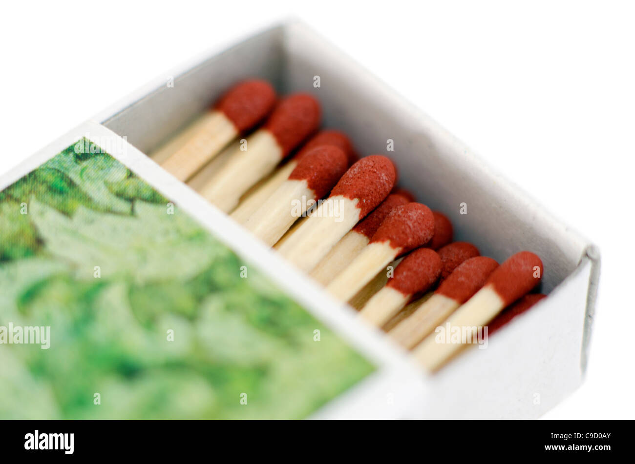 The match box and matches isolated on white background. - Stock Image