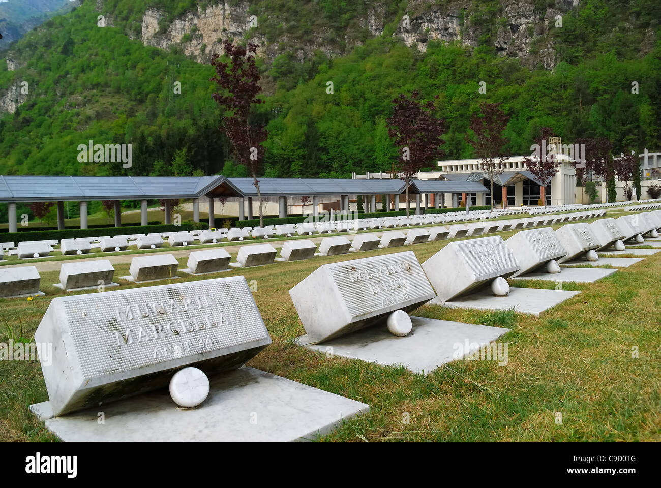 Longarone, Fortogna locality. The cemetery where are buried the victims of the Vajont dam disaster. - Stock Image