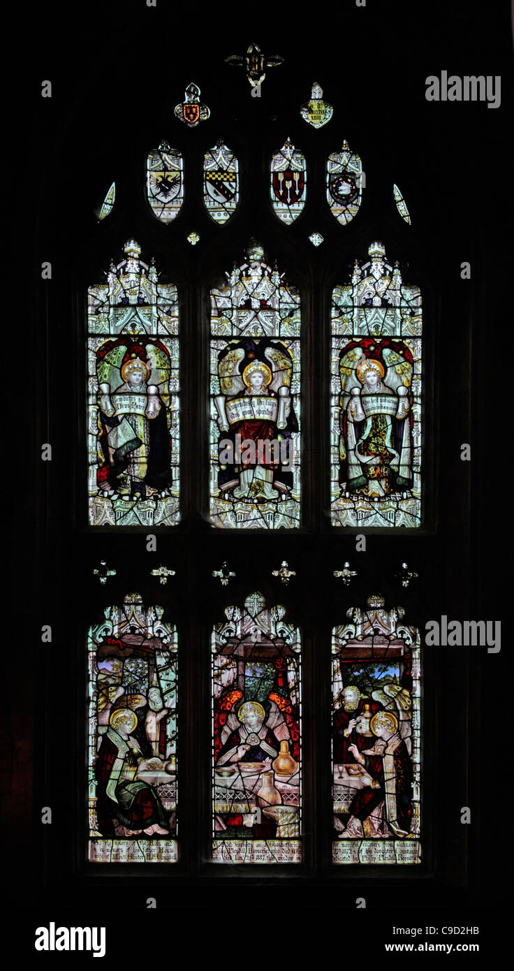 Stained glass window by the Kempe Studios depicting The Hospitality of Abraham - Stock Image