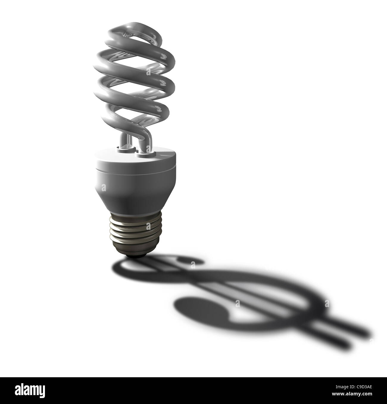 Light bulb with dollar sign, Digitally Generated Image by Hank Grebe - Stock Image