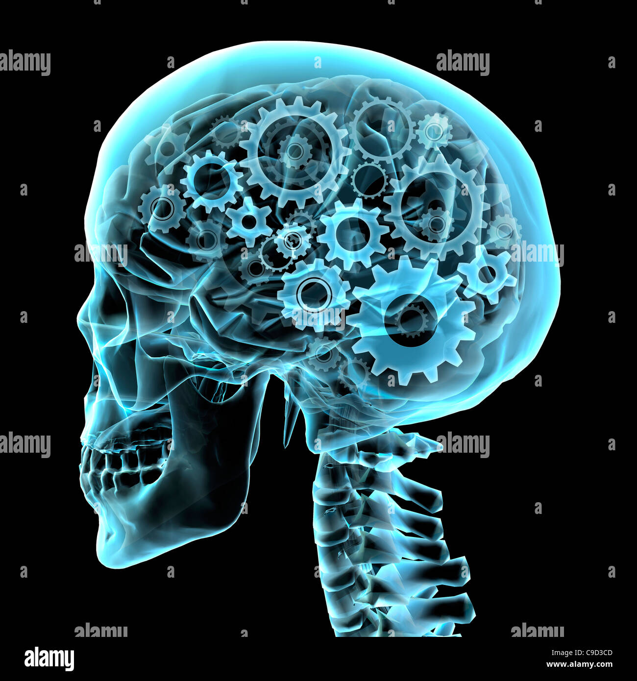 Brain with gears, Digitally Generated Image by Hank Grebe - Stock Image