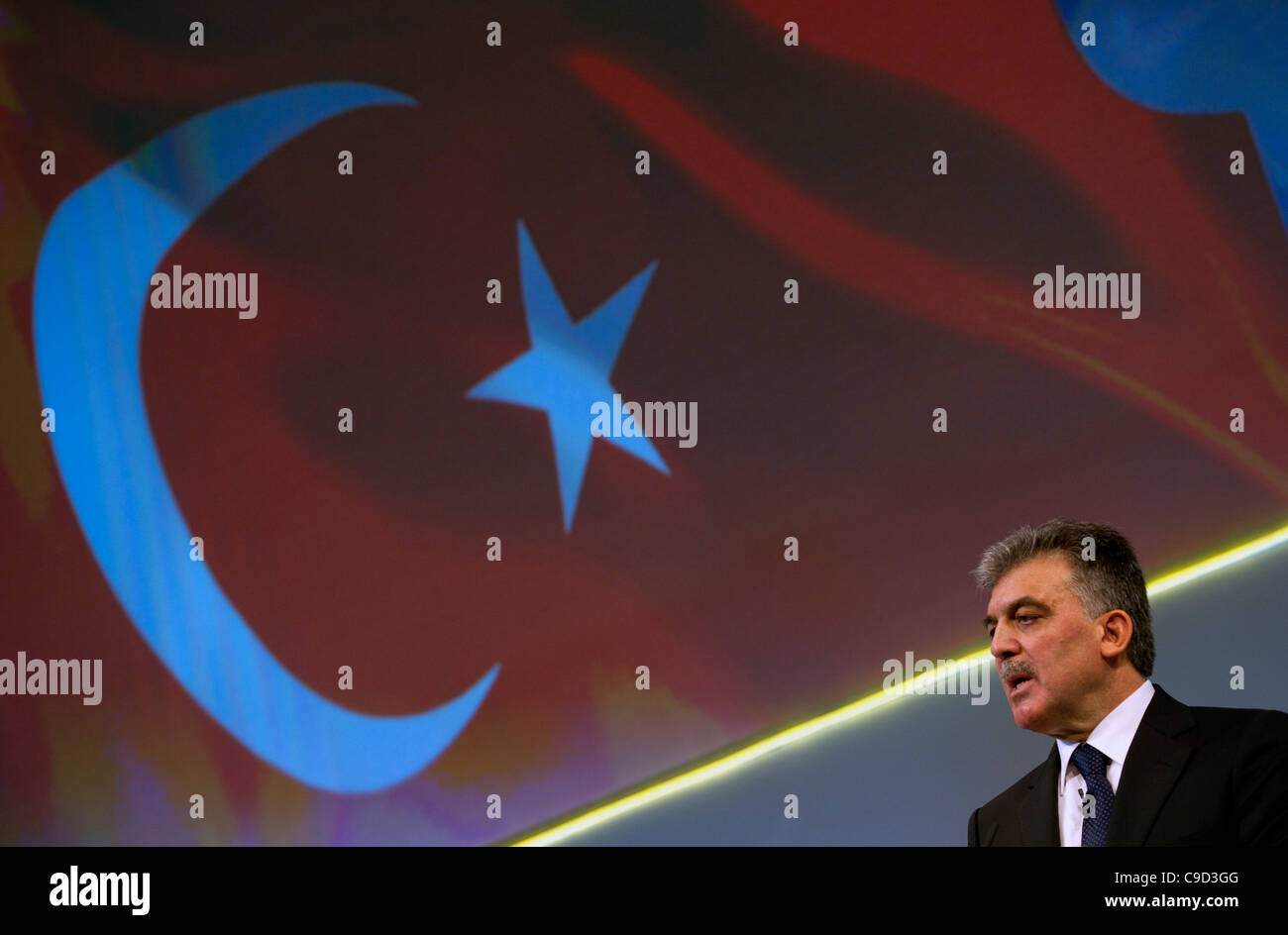 Abdullah Gul, President of Turkey, speaks at a business conference in London November 2011 Stock Photo