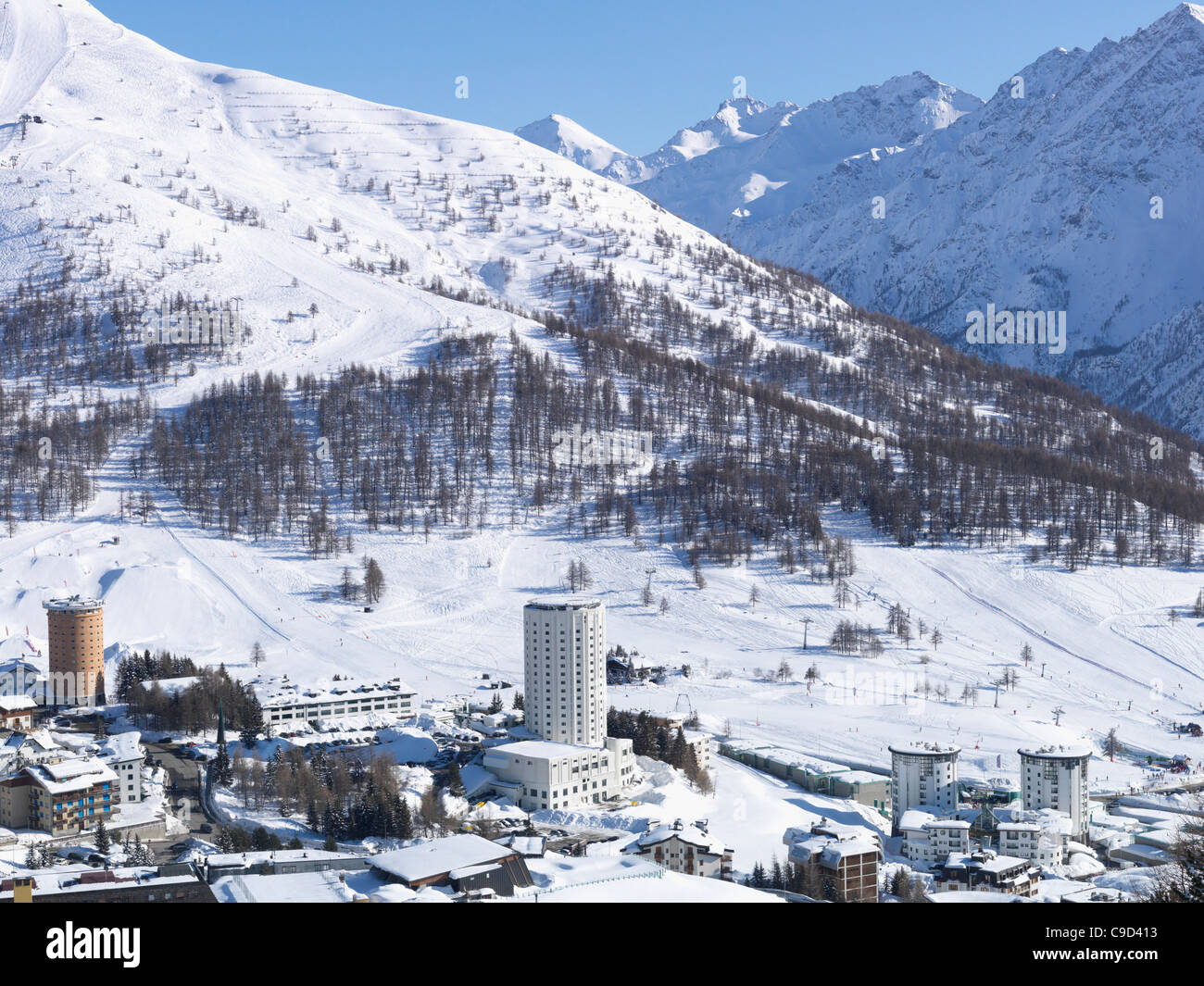 Italy, Piedmont, Sestriere village and ski resort (site of 2006 winter Olympics) Stock Photo