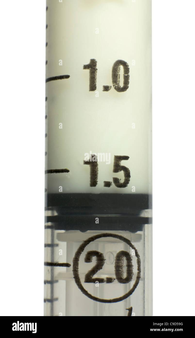 Syringe containing 1.6ml of the anaesthetic propofol - Stock Image