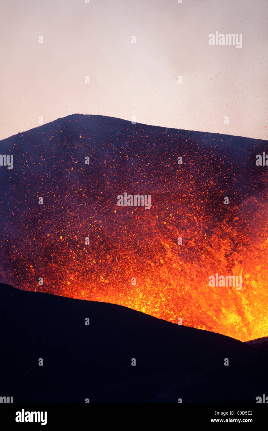 Volcanic eruption, Fimmvorduhals, Iceland - Stock Image