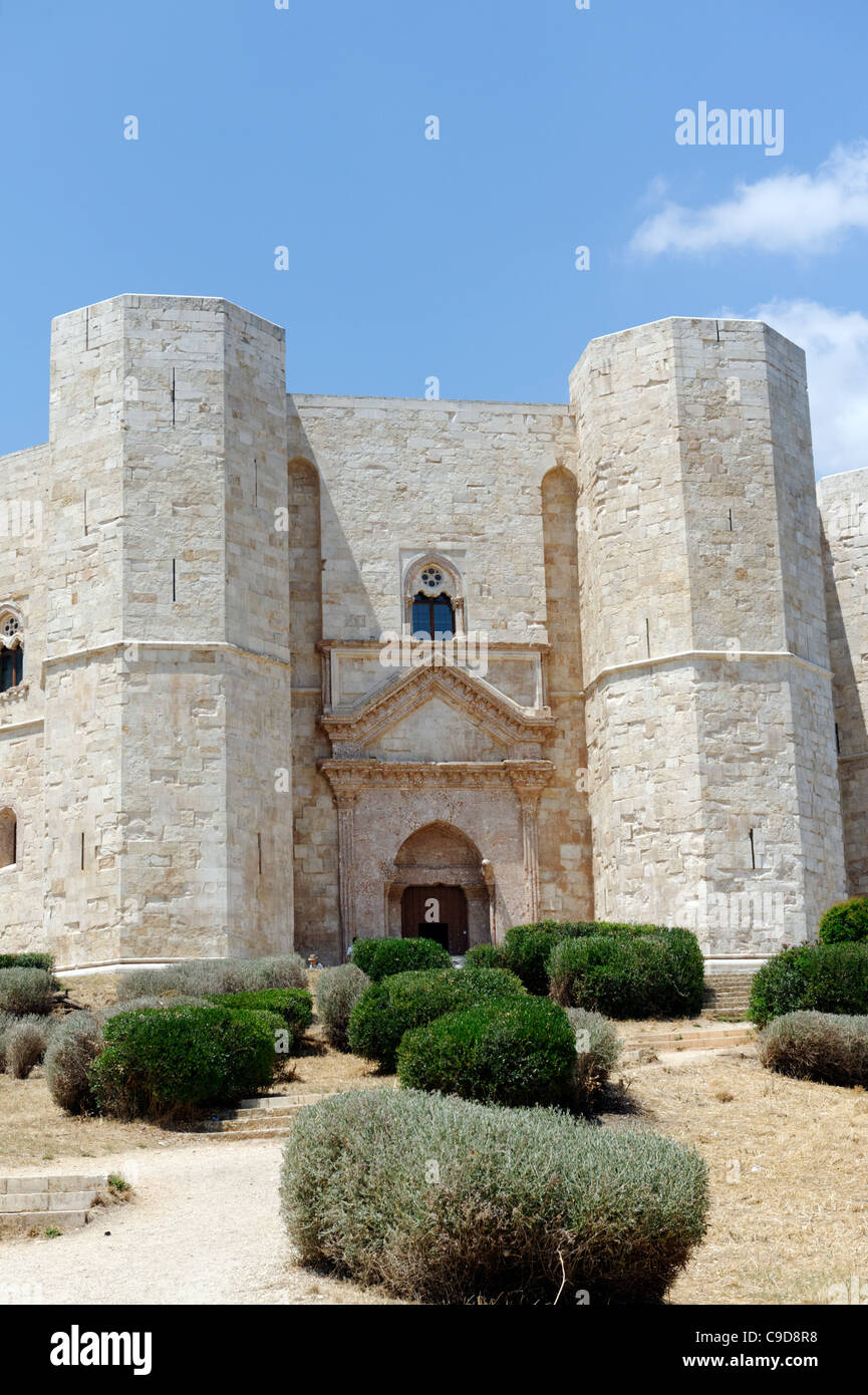 Puglia. Italy. View of the massive octagonal Castel Del Monte, which is a Unesco World Heritage Site. - Stock Image