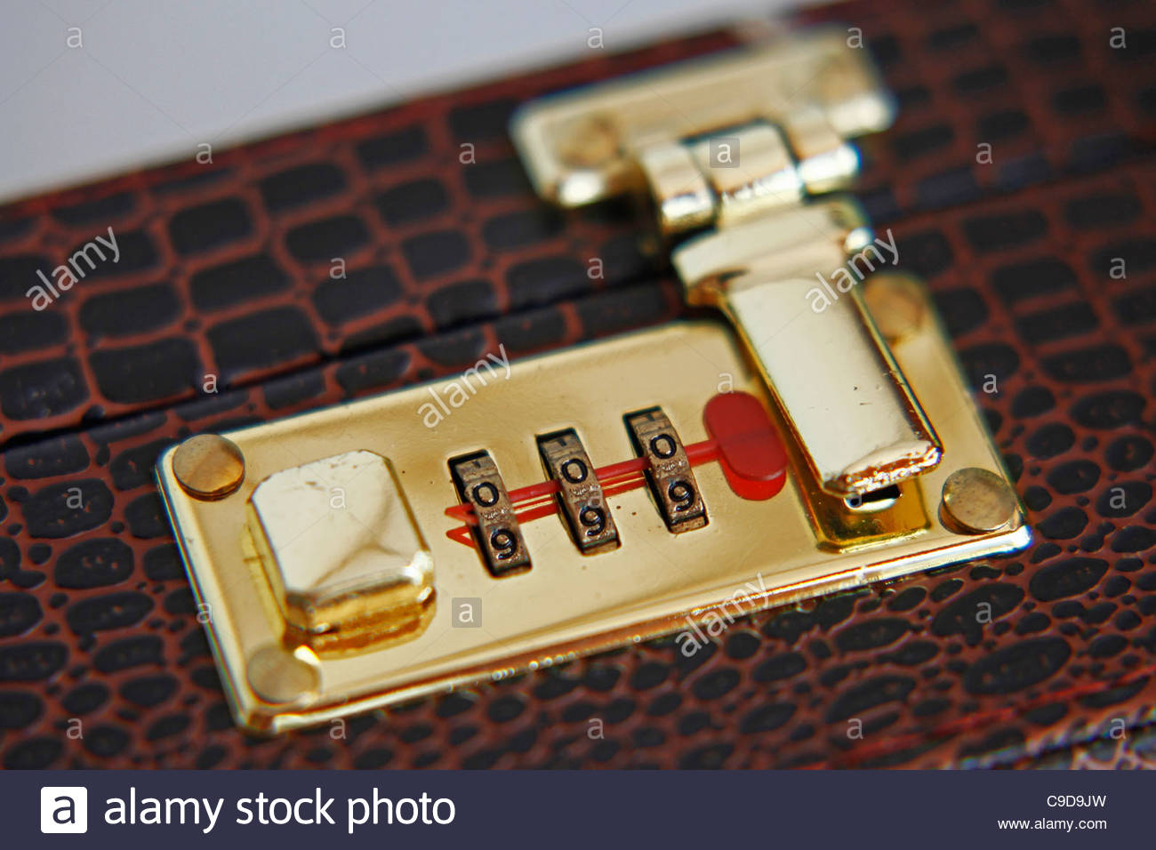 briefcase with combination lock - Stock Image