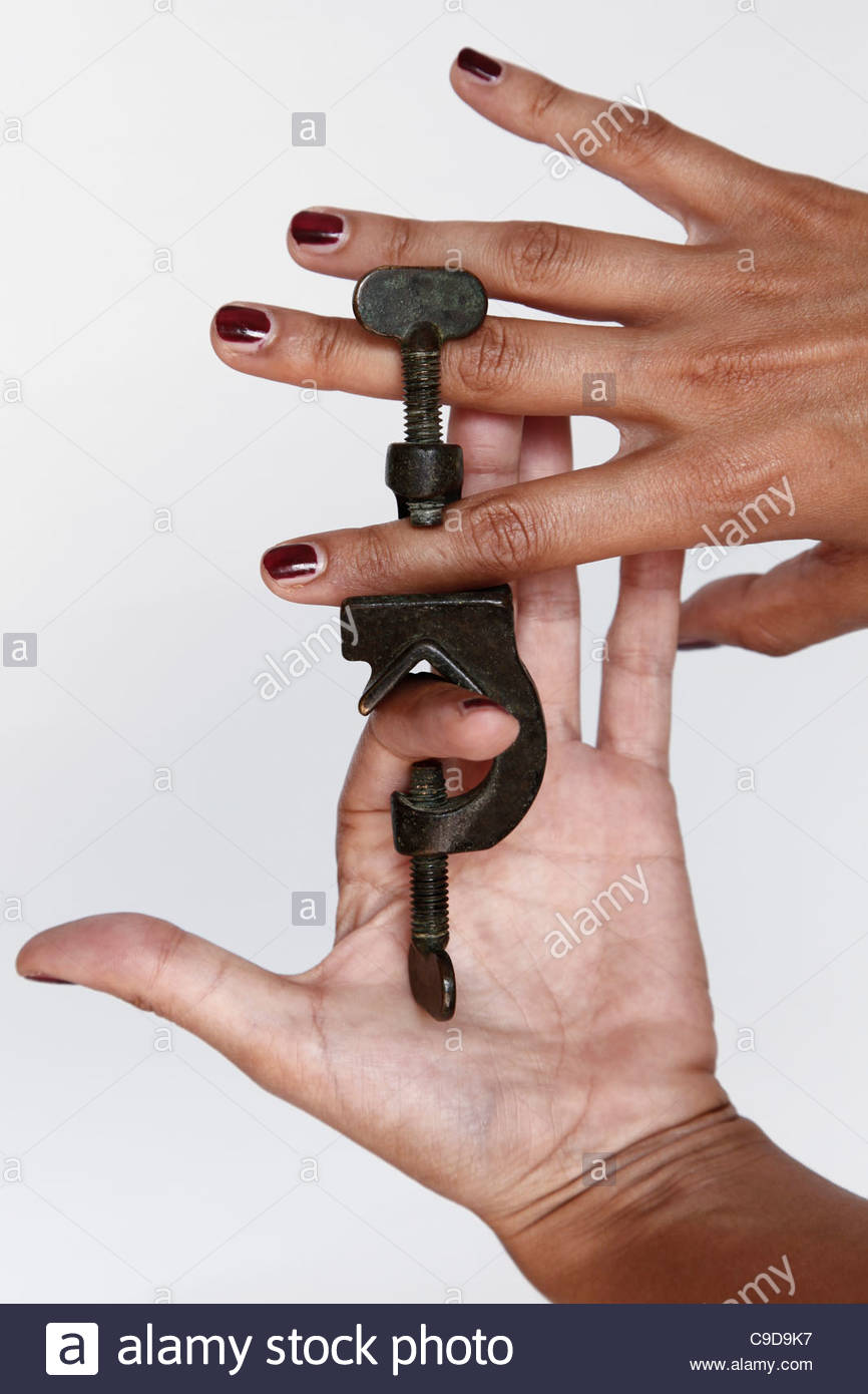 hand vice, one person - Stock Image