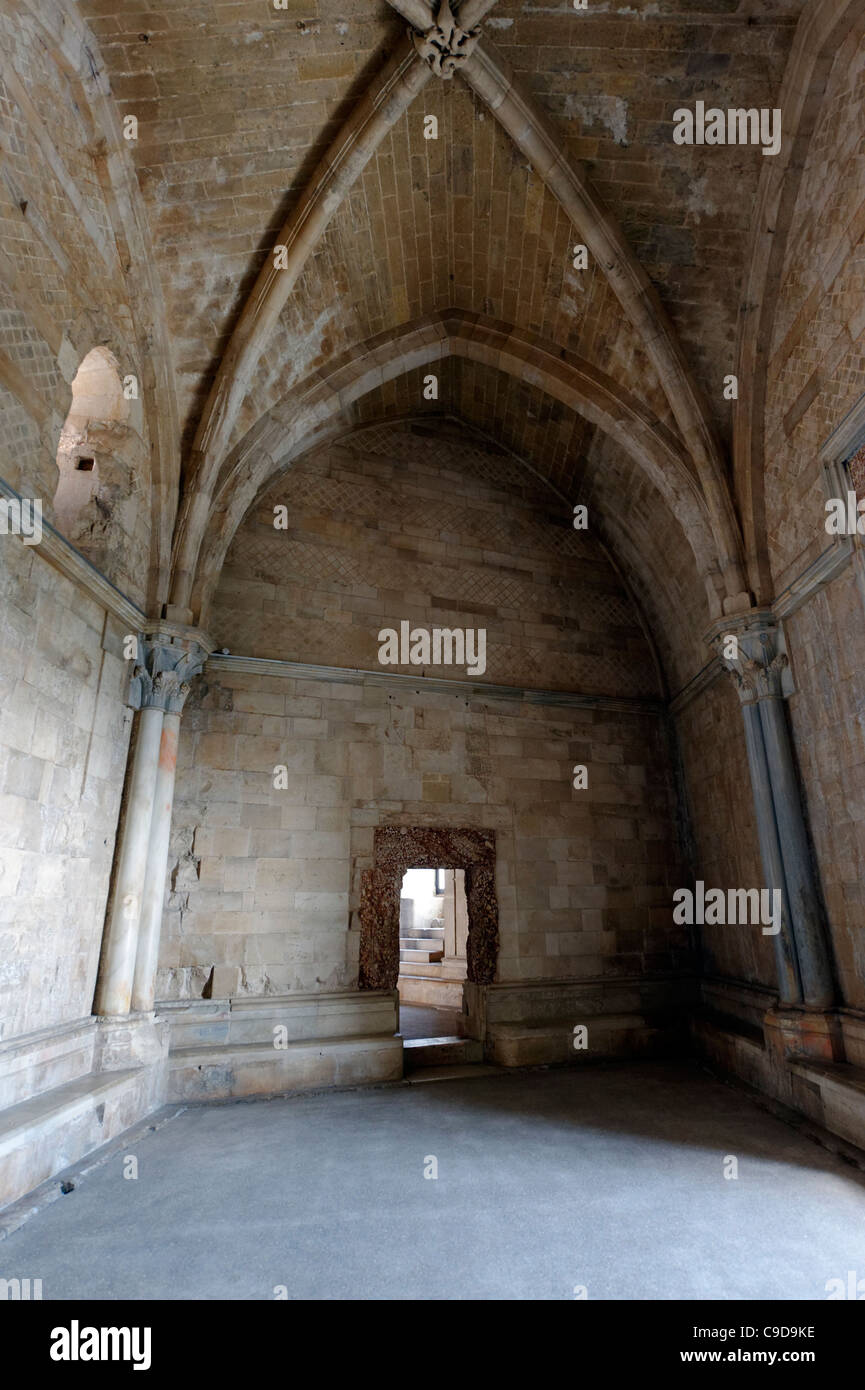 View of one of the sixteen trapezoid-shaped rooms covered with ribbed cross vault inside the Castel Del Monte. Puglia.Italy. - Stock Image