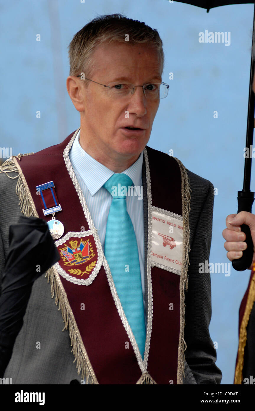 Democratic Unionist Pary (DUP)  MP Gregory Campbell attending the Apprentice Boys of Derry Relief of Derry parade - Stock Image