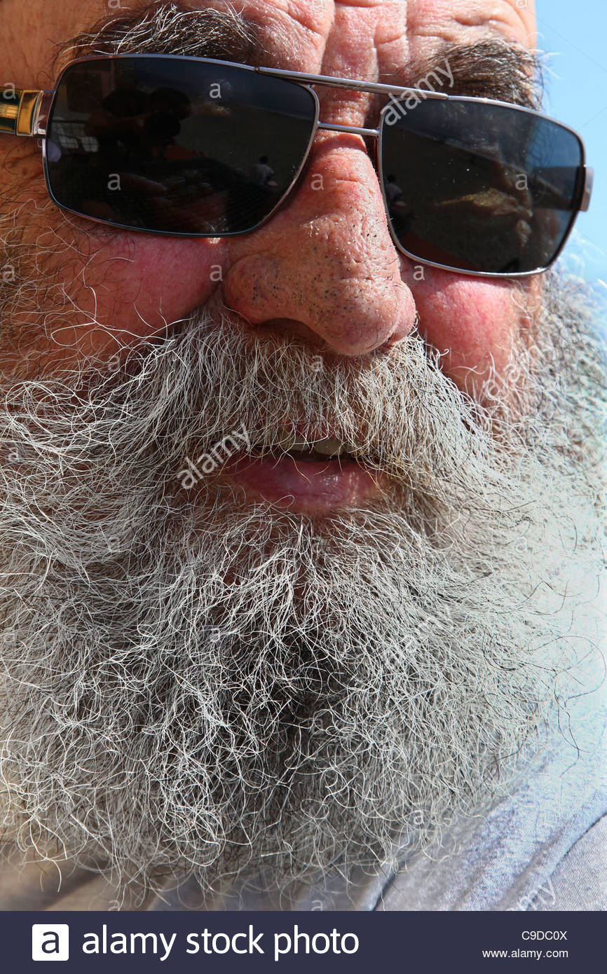 old man with sunglass - Stock Image