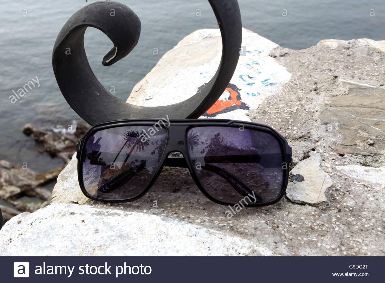 sunglass, sea - Stock Image