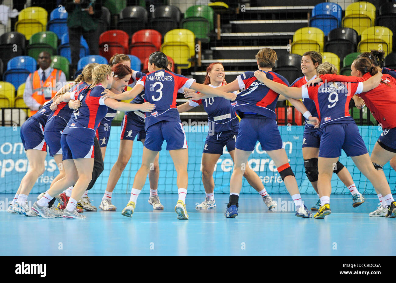 British team celebrates win against Angola by 22 - 20 during The London Prepares Handball Test Event - Great Britain - Stock Image