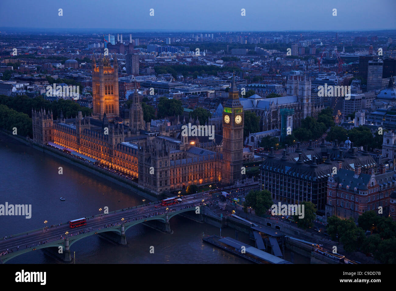Aerial view of the Houses of Parliament, Big Ben and the River Thames from the London Eye at dusk, London,  England, - Stock Image