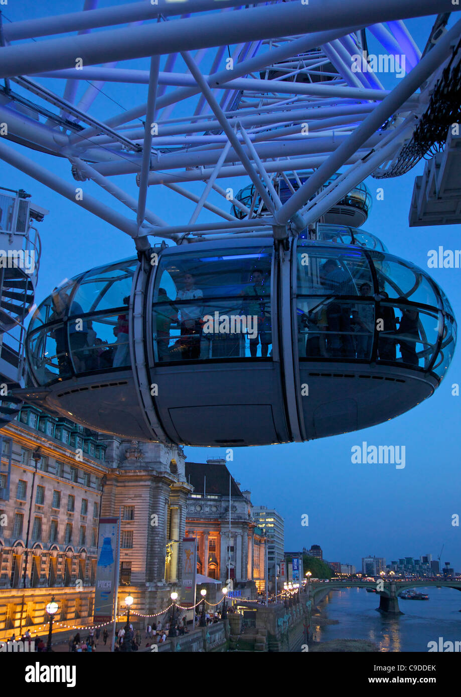 View of passenger pod capsule of the London Eye at dusk,  South Bank, London,  England, UK, United Kingdom, GB, - Stock Image