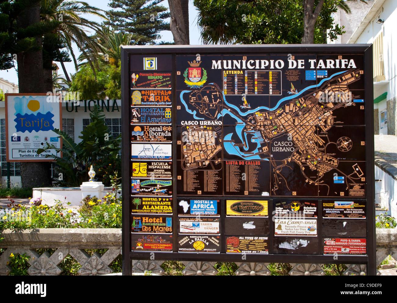 Costa De La Luz Spain Map.Town Map And Information Tarifa Costa De La Luz Andalucia Spain