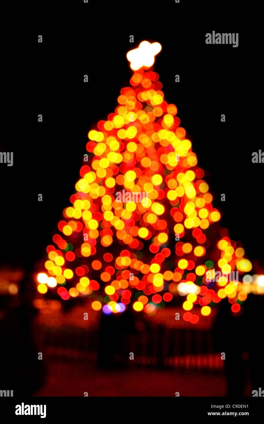blurry outdoor Christmas tree at night with black background - Stock Image