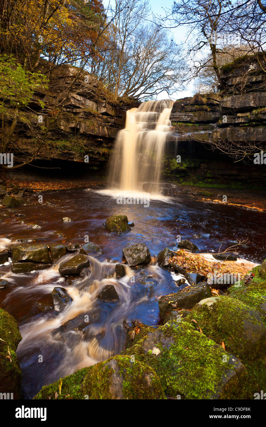 Gibson's Cave and Summerhill Falls, Bowlees Nature Reserve, Teesdale, County Durham - Stock Image