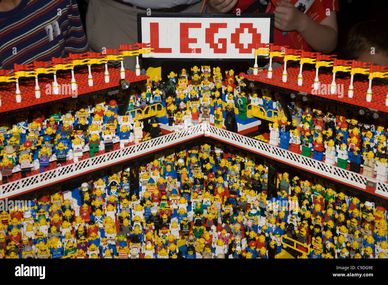 Lego model stadium and mini figure crowd at the Lego Convention at the GWR Steam Museum in Swindon - Stock Image