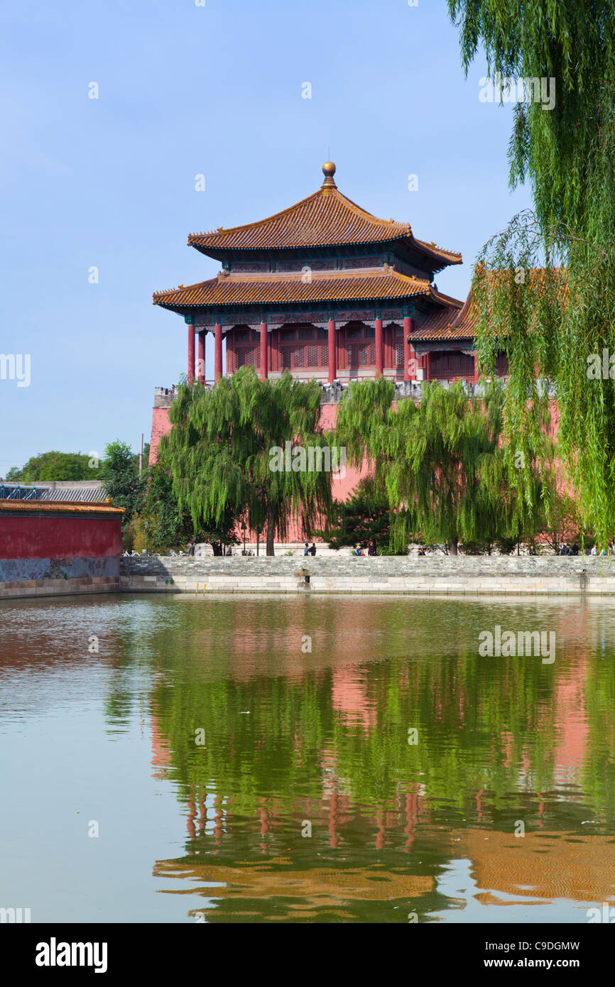 Moat around the Forbidden City and the Dong Hua Men east gate Beijing, Peoples Republic of China, Asia - Stock Image