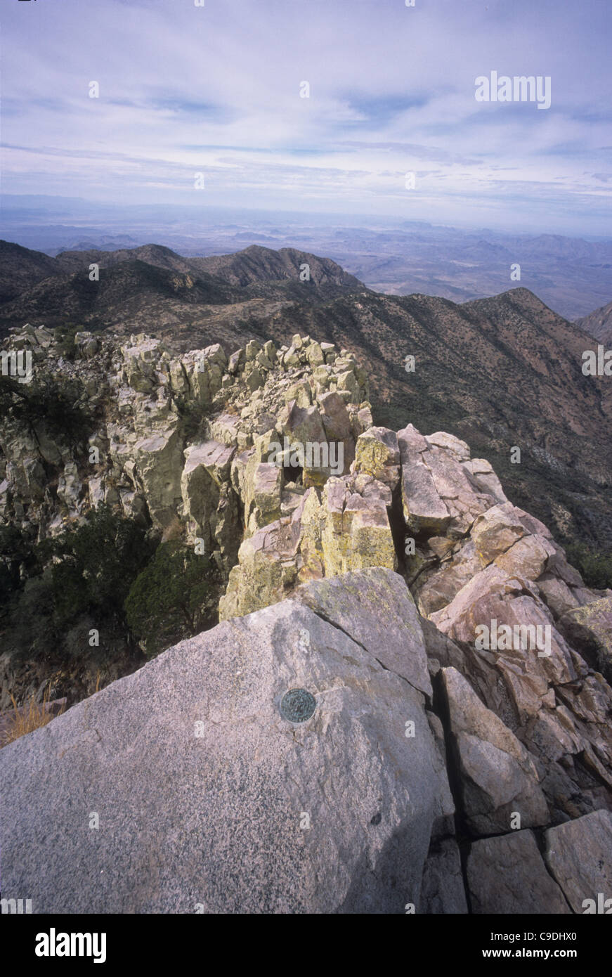 The panoramic view from Emory Peak (7,835 feet) the highest point in Big Bend National Park, Texas is popular with - Stock Image
