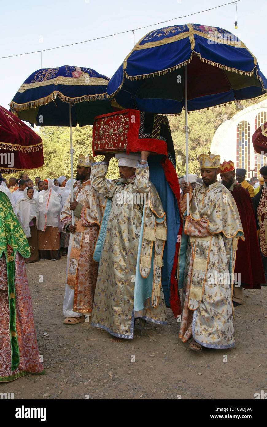 Ethiopian priest carries the tabot, a replica of the tablets of the biblical Ten Commandments during Timkat, Stock Photo