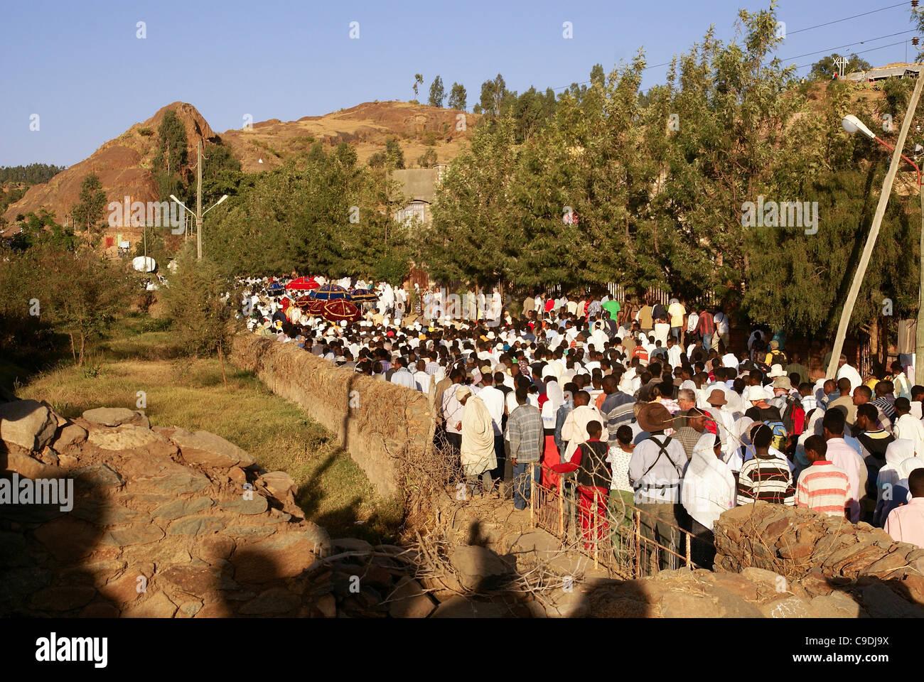 Ethiopian pilgrims during Timkat, the Ethiopian Orthodox celebration of the Epiphany, Stock Photo