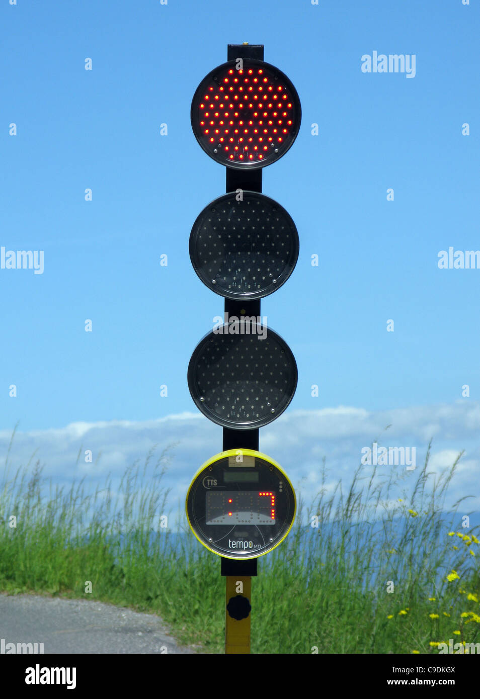 Traffic lights with countdown timer display to show when the light will change. - Stock Image